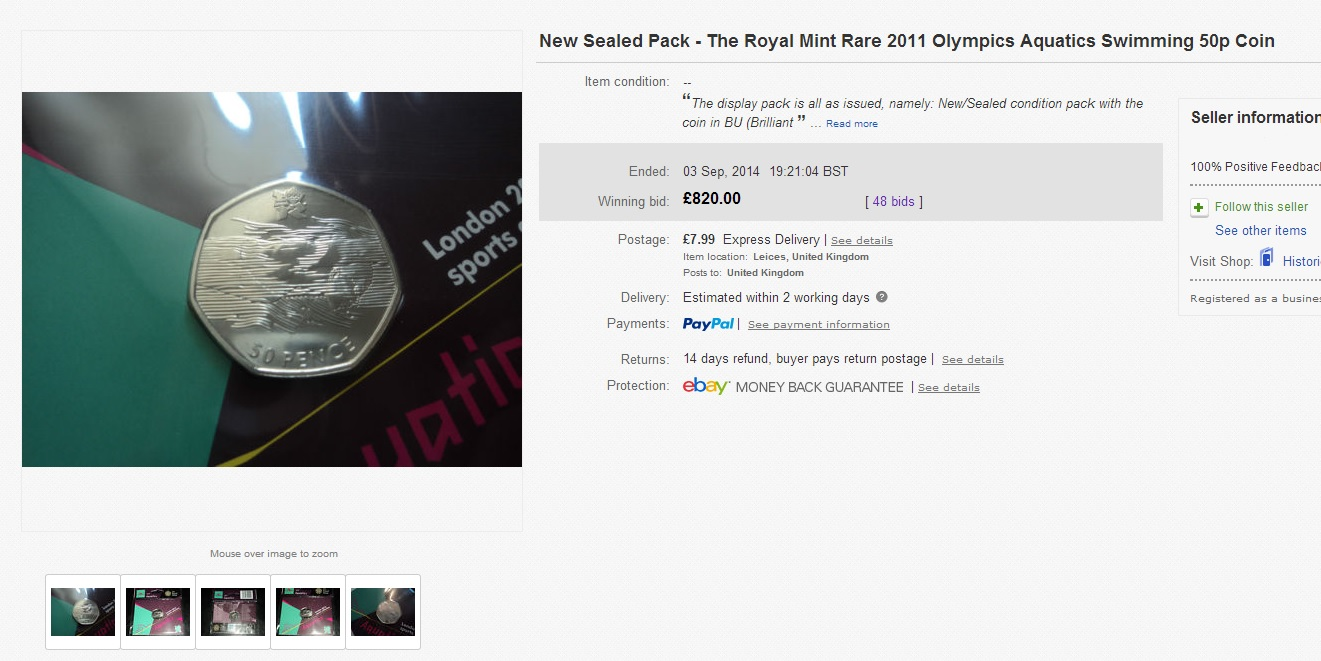 ebay aquatics 50p - This 50p just sold for £820.00