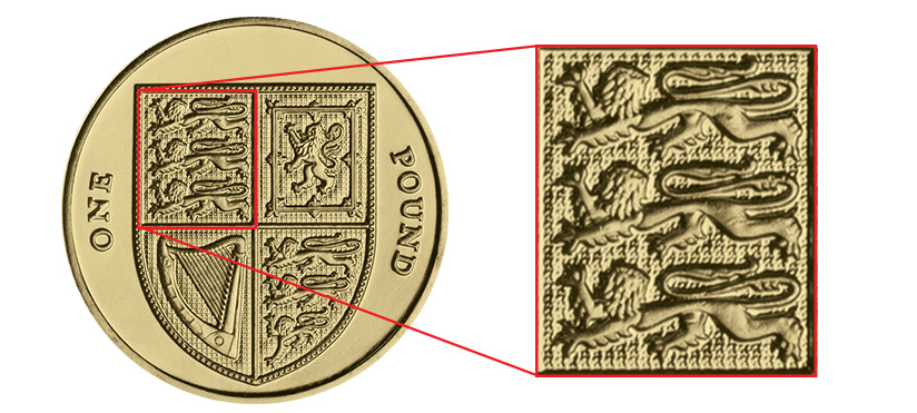 Three Lions Passant as depicted on a standard issue UK £1 coin