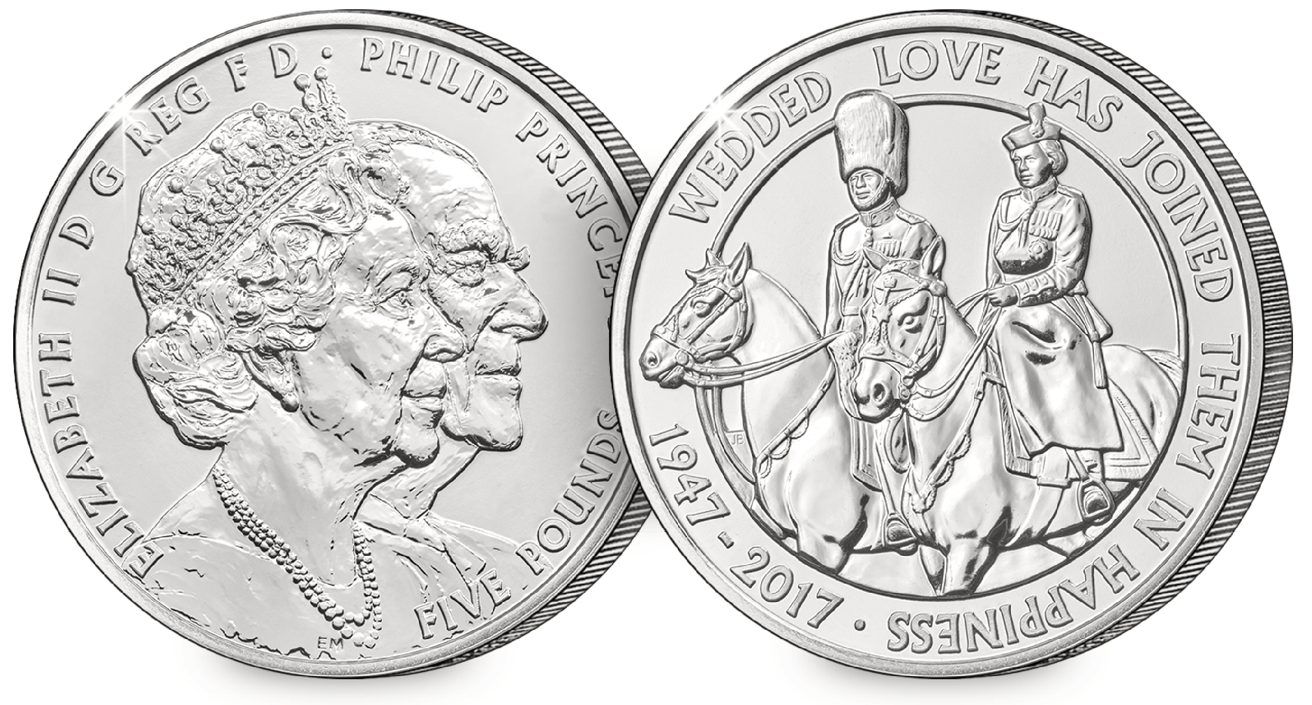 platinum wedding bu 5 pound obverse reverse123 - New UK £5 coin issued to celebrate Her Majesty's 70th Wedding Anniversary