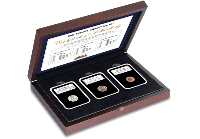Bronze 20p Error Coin Set in Display Case 1 - The truly unique 'Bronze 20p' error coin