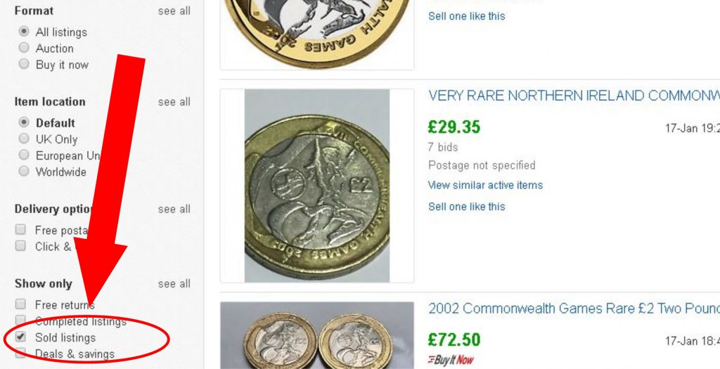 Ebay Recently sold 1024x525 - How much is my coin worth? - A five point guide.