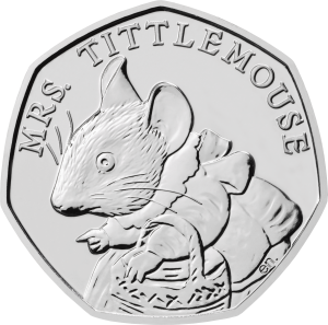 Mrs. Tittlemouse 2018 UK 50p Brilliant Uncirculated Coin rev uku44886 300x297 - Brand new 2018 Beatrix Potter 50p coins announced!